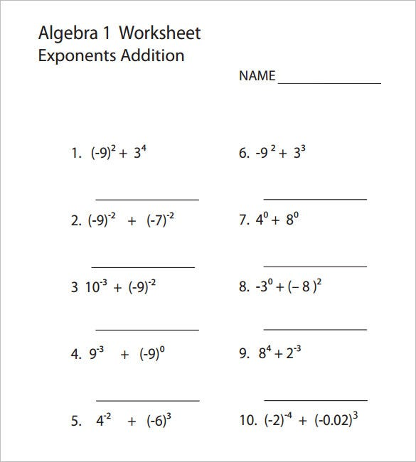 Printables Algebra 1 Printable Worksheets 10 college algebra worksheet templates free word pdf 1 template