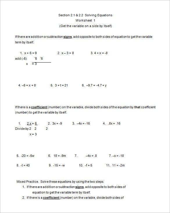 8 College Algebra Worksheet Templates Doc Pdf Free Premium