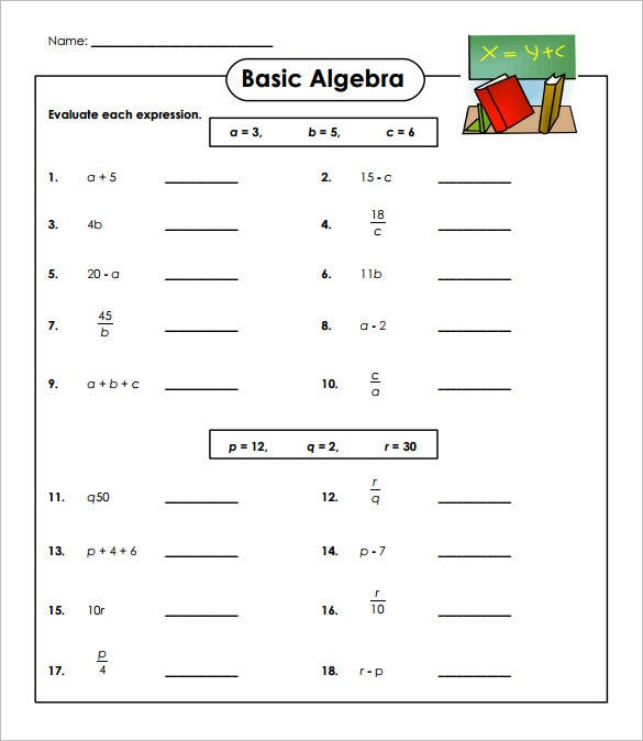 Simple Algebraic Equations Worksheets