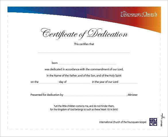 Baby dedication certificate child dedication certificate book baby dedication certificate template free word pdf documents yadclub Image collections