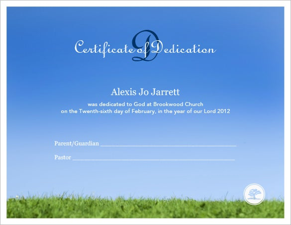 Baby Dedication Certificate Template   Free Word Pdf