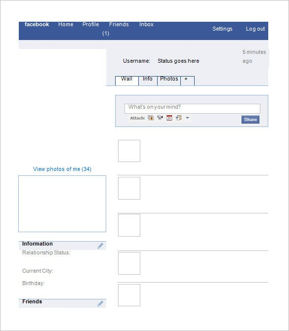 Blank Facebook Template – 11+ Free Word, PPT & PSD Documents