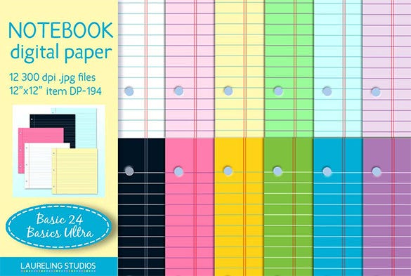 13 Notebook Paper Templates Free EPS PDF Illustrator Files – Notebook Paper Download
