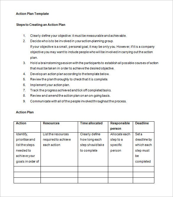 Business Action Plan Template 8 Free Sample Example Format – Example of Action Plan