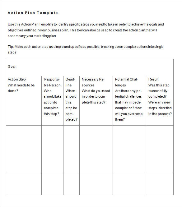 Business Action Plan Template Free Sample Example Format - How to create a business plan template