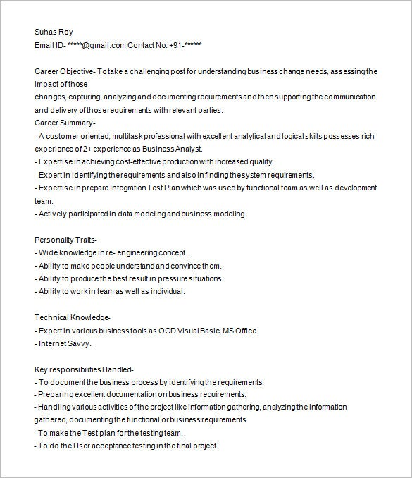 Ba Resume Sample  Resume Cv Cover Letter