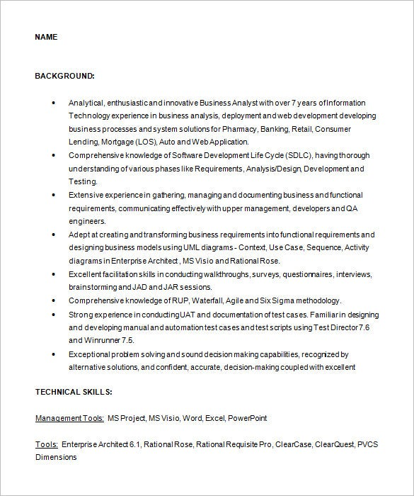 Business Analyst Resume Template 15 Free Samples Examples – Sample Business Analysis