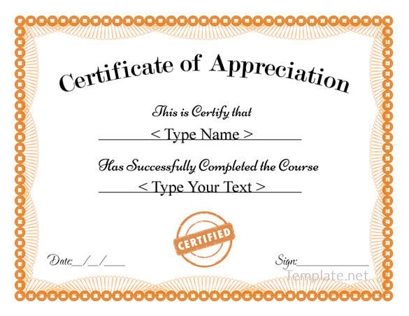 Free Certificate Of Appreciation Templates