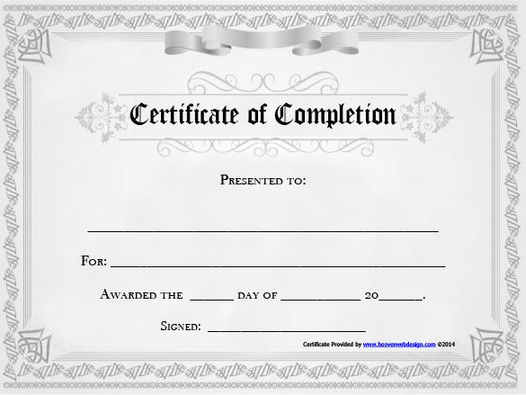 Completion Certificate Template 25 Free Word PDF PSD EPS – Template Certificate of Completion