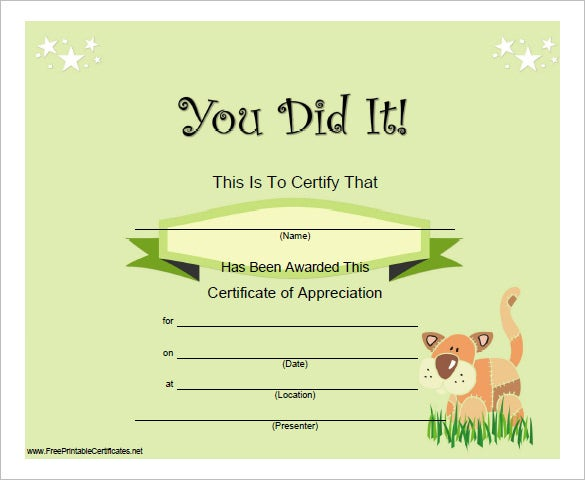 free downloadable certificates of completion