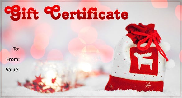 High Quality Christmas Gift Certificate Template Free Download  Christmas Gift Card Template