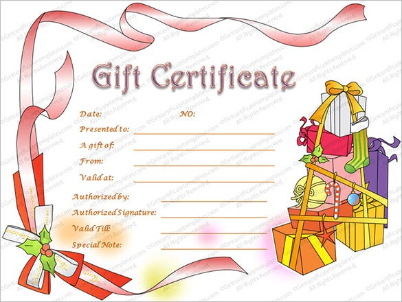Christmas Hampers Gift Certificate Template  Christmas Gift Card Template
