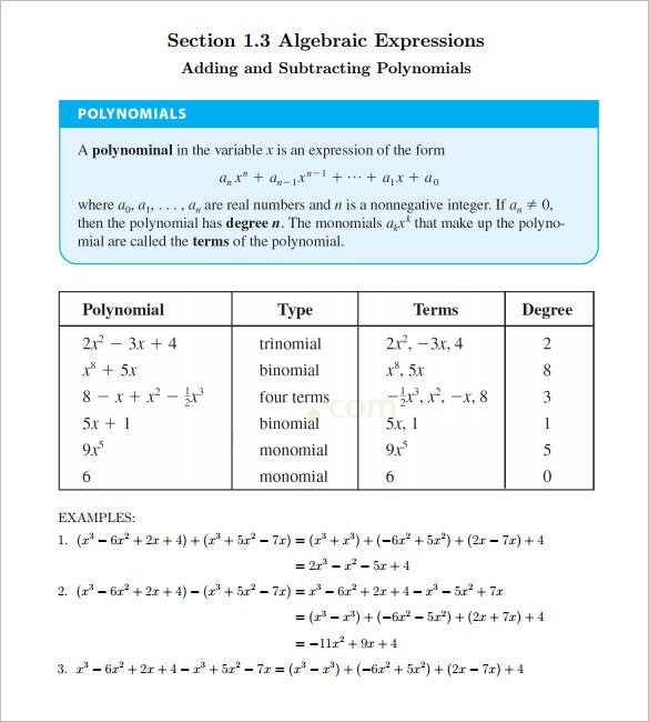 10+ College Algebra Worksheet Templates – Free Word & PDF Documents ...