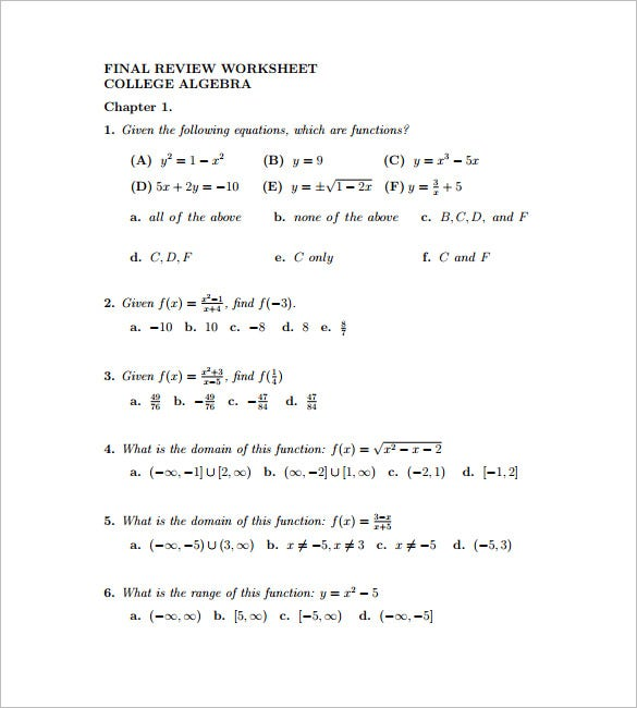 10 College Algebra Worksheet Templates Free Word PDF – Algebra I Worksheets
