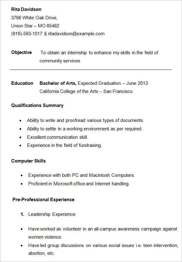 Sample Resume For First Year College Student