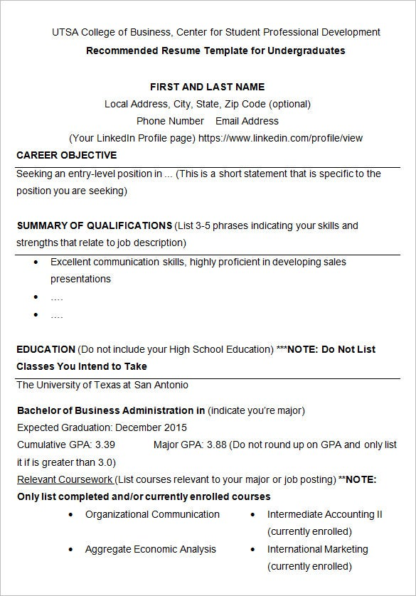 sample resume template for college students