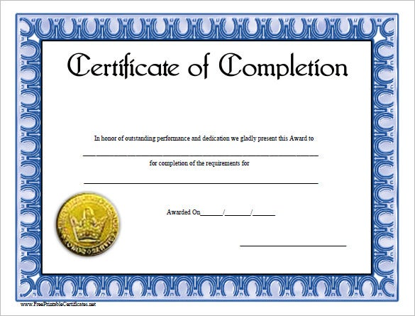 Course Completion Certificate Template  Certificate Of Completion Template Word