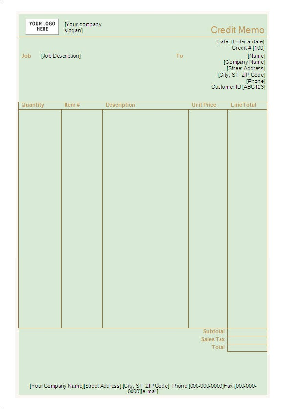 Credit Memo Template   Free Word Excel  Documents