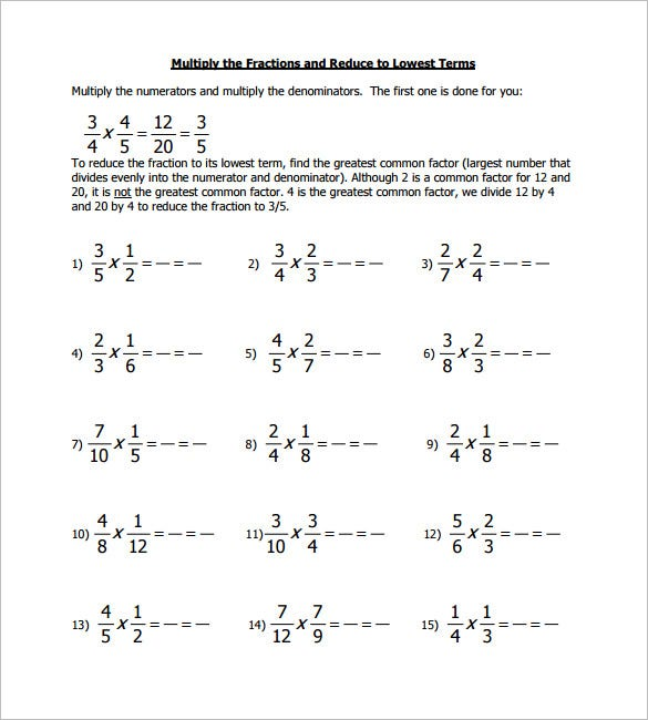math worksheet : 11 multiplying fractions worksheet templates  free pdf documents  : Multiplying Fractions Worksheet With Answers