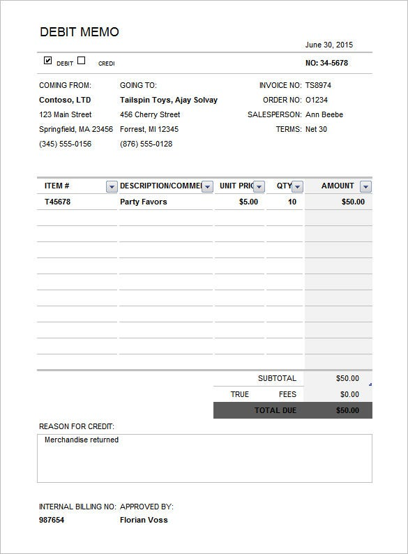 Debit Memo Template – 11+ Free Word, Excel, Pdf Documents Download