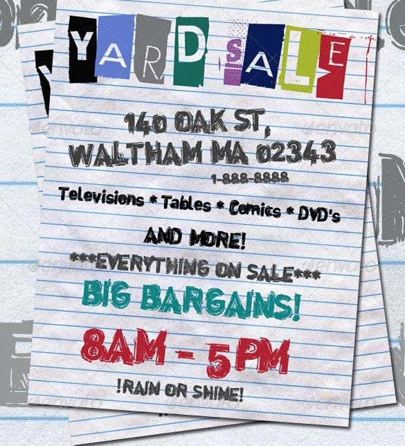 example of yard sale flyer