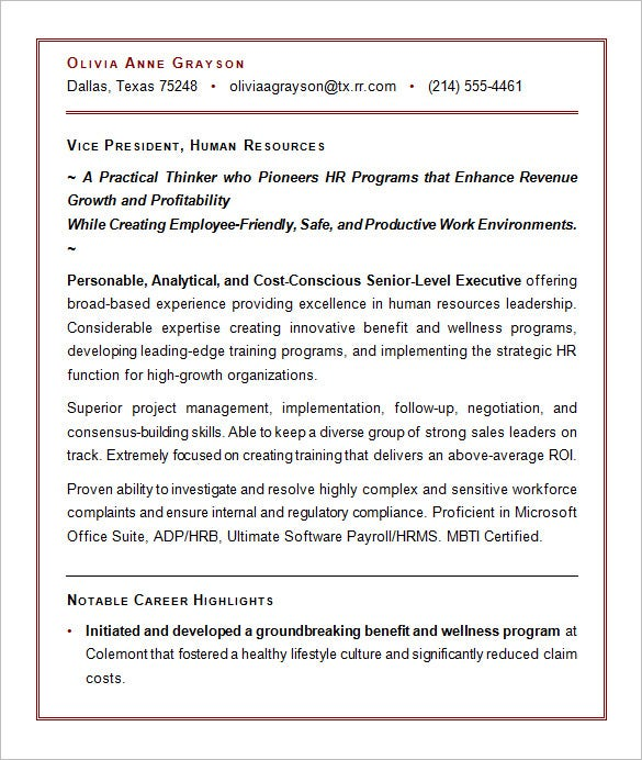 Exceptional Executive Resume Sample For HR VP On Executive Resume Formats And Examples