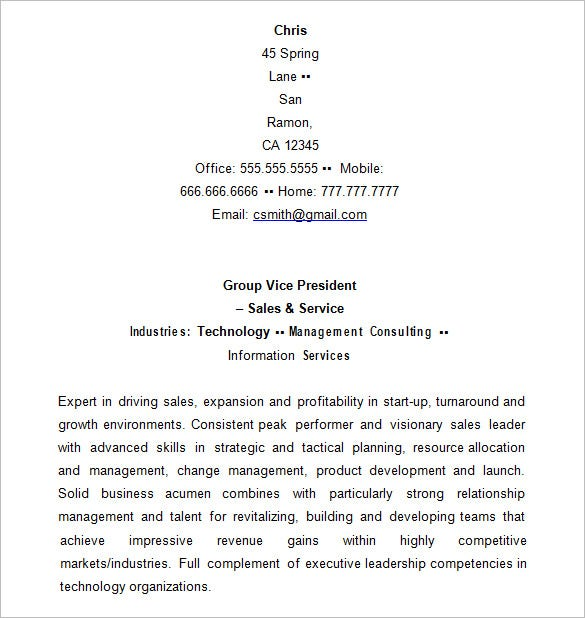 executive resume sample for sales vp - Sample Executive Resumes