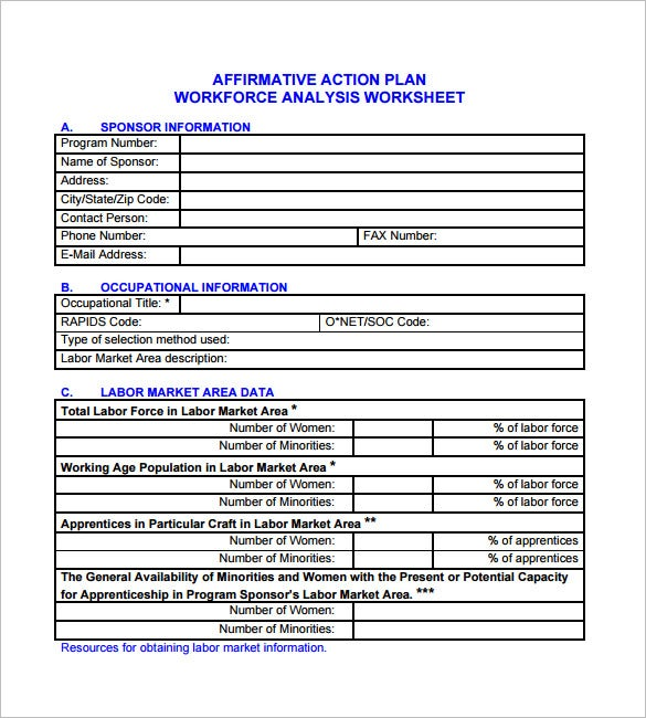 Affirmative Action Plan Template 6 Free Word Excel PDF Format – Action Plan Worksheet