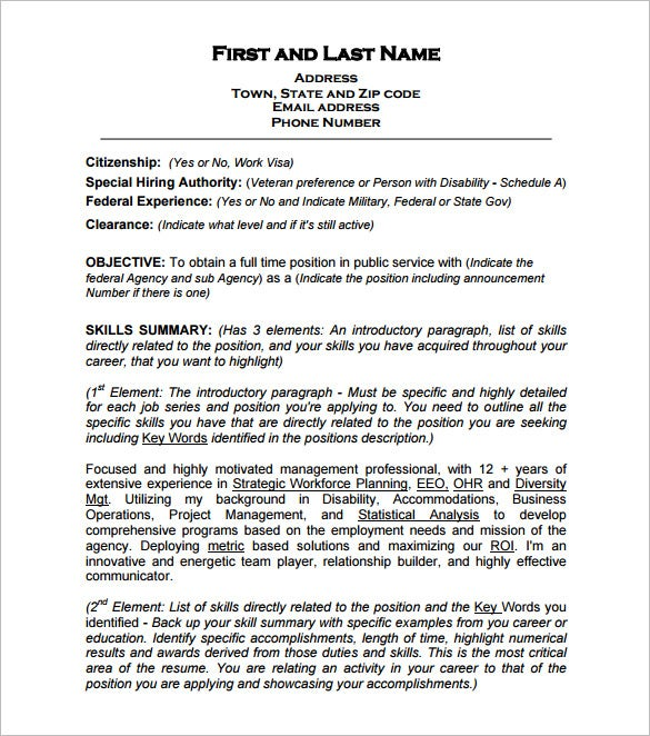 Federal Resume Template Format  Resume Free Samples