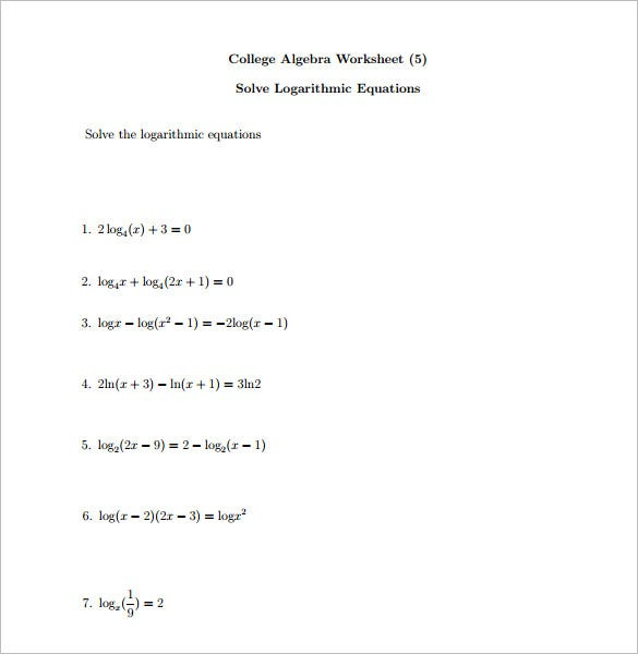free algebra worksheets