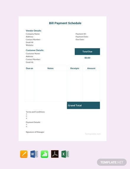 free bill payment schedule