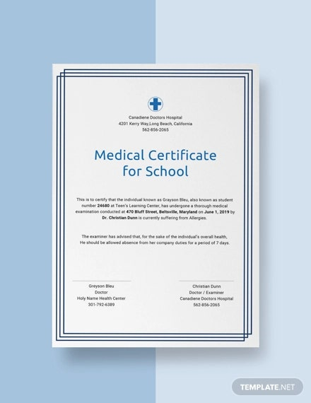 free medical certificate for school