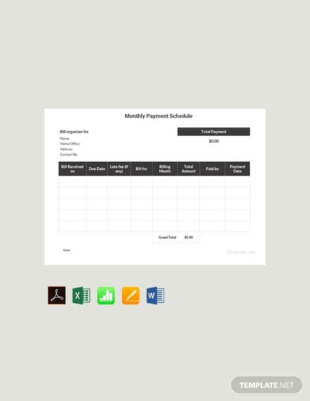 29  payment schedule templates