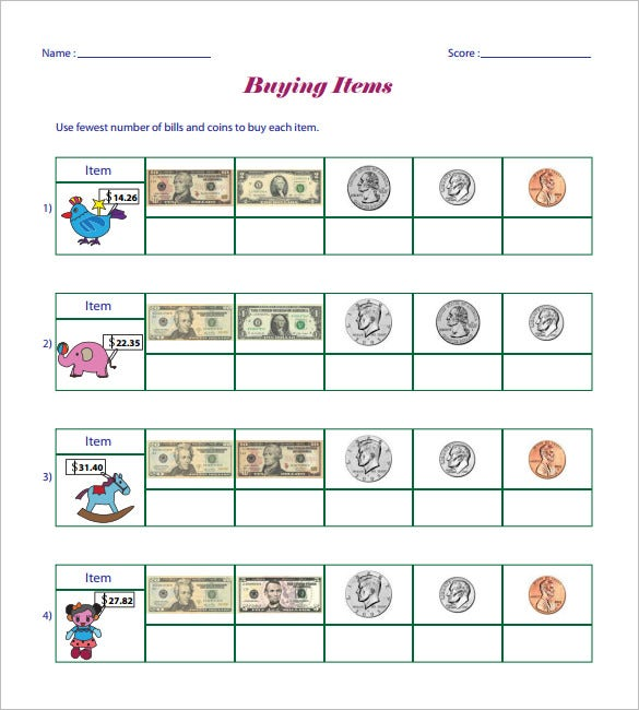 12+ Money Math Worksheet Templates – Free Word, PDF Documents ...
