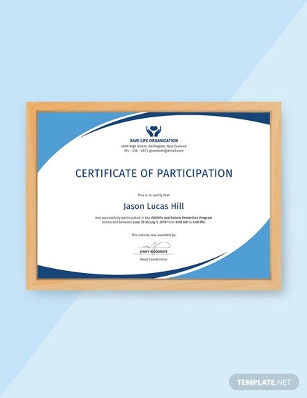 free program participation certificate