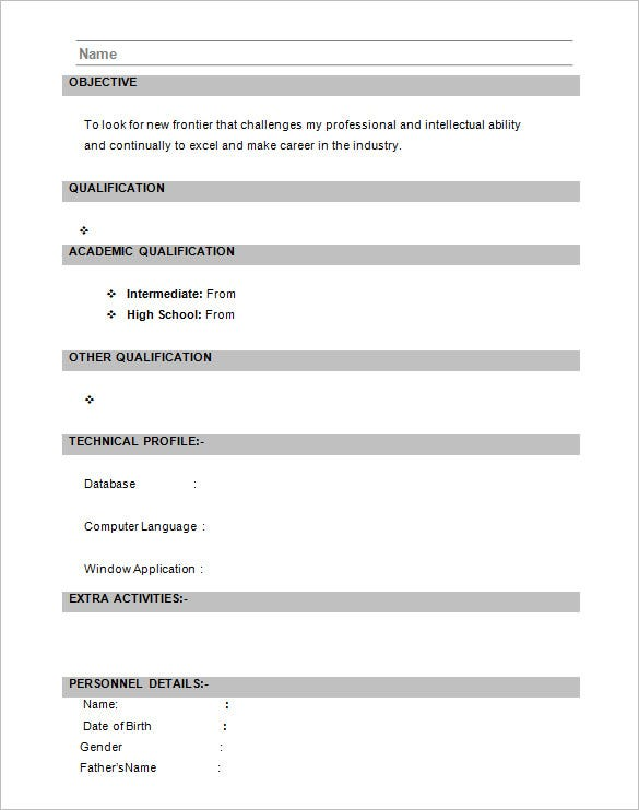 Standard Resume Format For Freshers | Template