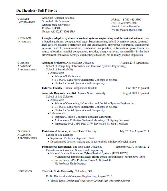 latex resume template for job applicant college adjunct professor example assistant format doc curriculum vitae examples