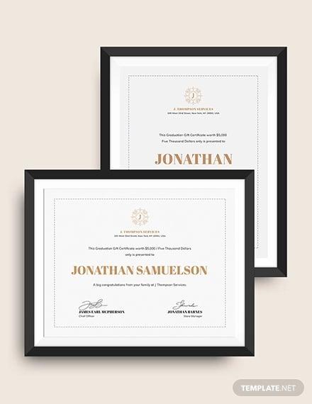 graduation gift certificate