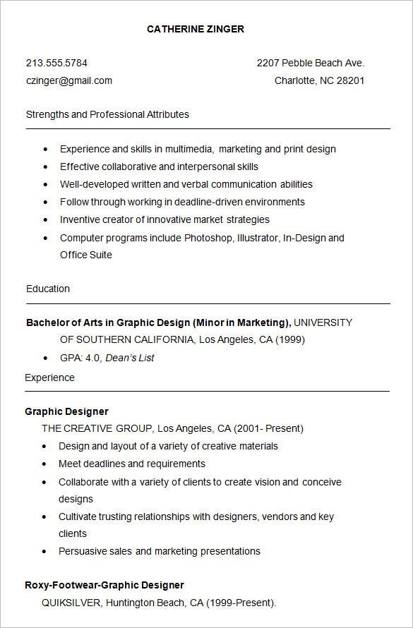 graphic student resume sample