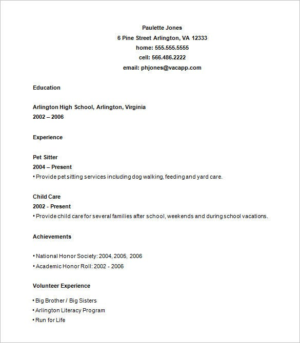 resume template example for high school students