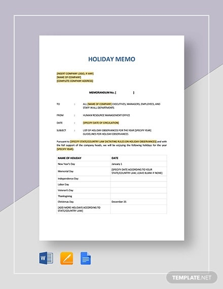 holiday memo