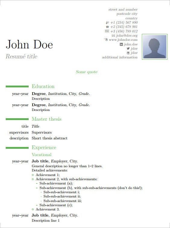 Wonderful Latex Resume Template Examples For Resume Latex Template