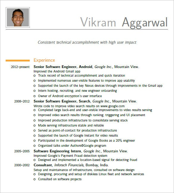 Incroyable Latex Resume Template Software Engineer