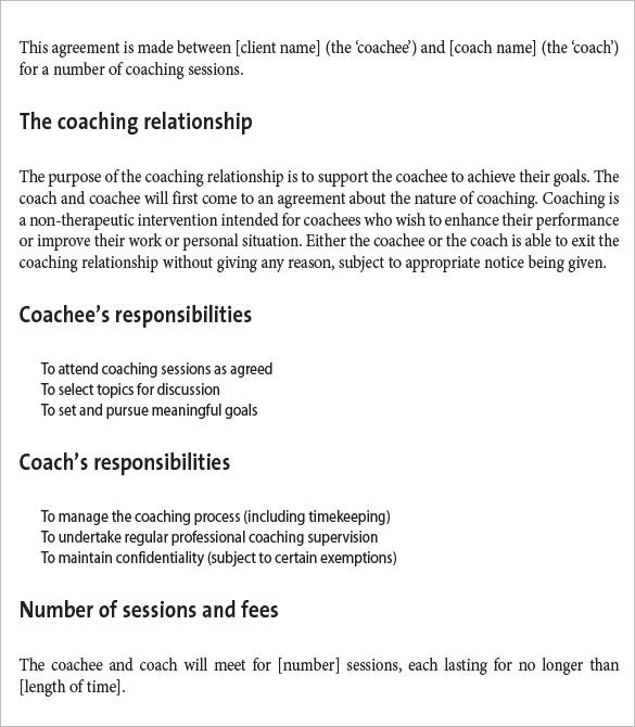 Coaching Contract Template 7 Free Word PDF Documents