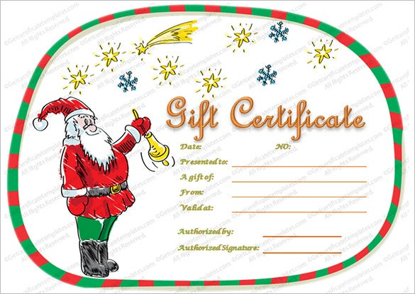 Christmas Gift Certificate Template 16 Word PDF Documents