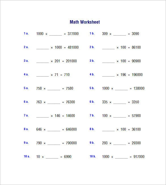 10 Multiplication and Division Worksheets Free Word PDF – Times and Division Worksheets