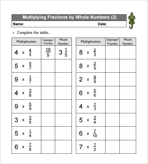 Multiplying Fractions Worksheet Templates  Free Pdf Documents
