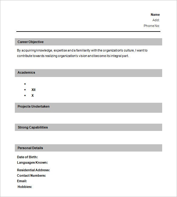 one page resume layout