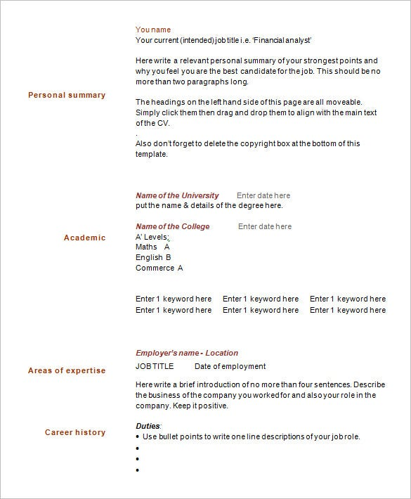 one page resume template format