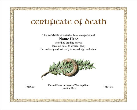 Beautiful Printable Death Certificate Template
